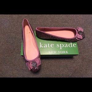 KATE SPADE NY Fontana Too Glitter Ballet Gold Sz 6